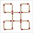 マッチ棒3本の移動で正方形を7個にせよ!7個の正方形はもとの大きさと同じ!