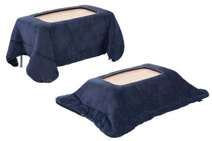 テーブルに掛け、シュラフの四隅にあるループをテーブル脚部に通せばこたつ布団に早変わり。