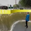 アメリカに上陸中の大型ハリケーンがもたらす大洪水。ARで見せる気象予報