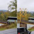 重量制限オーバー。ツアーバスの重みで木の吊り橋がグンニャリとたわむ衝撃映像(アメリカ)