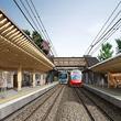 参宮橋駅、「杜」の玄関口に 駅舎建て替え、ホームに木材 改良工事に着手 小田急