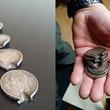 第一次世界大戦時の銃弾から命を救った胸ポケットのコインの写真