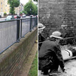 ロンドンの街のフェンスとして使用されている、第二次世界大戦中に使用されていた鉄製の担架(イギリス)