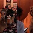 バーのカウンターに違和感なく溶け込んでいる帽子を被った犬。馴染みの客かよっていう(アメリカ)