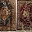 この中に動物がひそんでます。ペルシア絨毯を使ったカモフラージュ的動物彫刻
