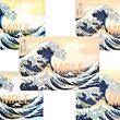 イメージの異なる北斎の代表作品「神奈川沖浪裏」の画像データ商用提供