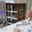 消えた?だと?カード飛ばしトリックに混乱する猫のキョトン