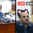 【放送事故】パキスタンの州政府がマジメな会見で間違えて「猫耳フィルター」をオンにしたまま生放送してしまい、シュールな光景が世界中で話題に笑