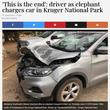 ゾウの攻撃も逃げ場なくSUV車がボコボコに(南ア)
