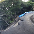 2度の豪雨でたやすく崩落した伊方発電所周辺集落の避難路。蓮池氏とへこみデミオ号で回ってみた