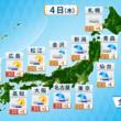 九州の発達した雨雲が東日本へ移動します