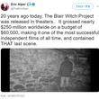 フェイク動画などない時代に人々を欺いた「ブレア・ウィッチ・プロジェクト」の公開から20年